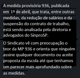 Nota importante sobre a MP 936