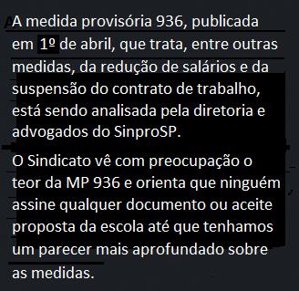 Nota importante sobre a MP 936